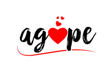 Agape Word Text Typography Design Logo Icon With Red Love Heart