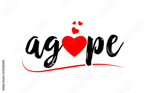Photo agape word text typography design logo icon with red love heart