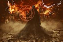 Angel Of Death Casting A Spell Of Destruction With A Magic Staff Over Apocalypse Background