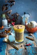 Pumpkin Latte Garnished With C...