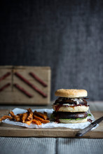 A Double Portobello Burger Wit...