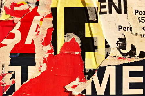 Old grunge ripped torn vintage collage posters creased crumpled paper surface pl фототапет