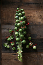 Brussels Sprouts Roughly Arranged In The Shape Of A Christmas Tree