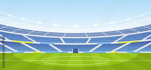 Fotografie, Obraz  Vector illustration of empty sports stadium with lights in flat cartoon style