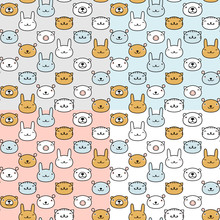 Animal Symbols Seamless Pattern. Greeting Card Template. Four Different Colors Cute Animals Icons Vector Backgrounds Set.