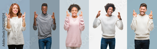 Collage of group of african american and hispanic people wearing winter sweater over vintage background smiling crossing fingers with hope and eyes closed Wallpaper Mural