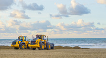 Earthmoving Equipment Machines Working At The Beach For Maintenance Moving Sand Industrial Agriculture