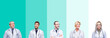 Collage of group of doctor people wearing stethoscope over colorful isolated background smiling looking side and staring away thinking.