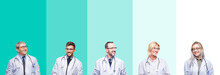 Collage Of Group Of Doctor People Wearing Stethoscope Over Colorful Isolated Background Looking Away To Side With Smile On Face, Natural Expression. Laughing Confident.