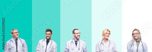 Collage of group of doctor people wearing stethoscope over colorful isolated background looking away to side with smile on face  natural expression. Laughing confident.