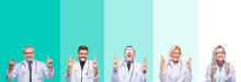 Collage Of Group Of Doctor People Wearing Stethoscope Over Colorful Isolated Background Smiling Crossing Fingers With Hope And Eyes Closed. Luck And Superstitious Concept.