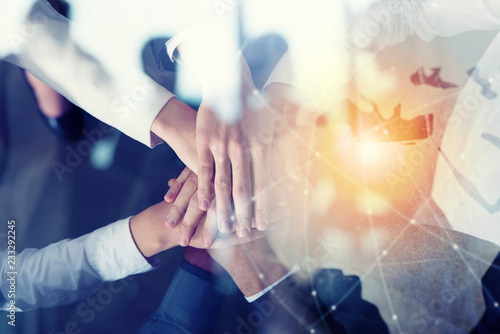 Business people putting their hands together Wallpaper Mural