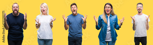 Canvastavla Collage of group people, women and men over colorful yellow isolated background crazy and mad shouting and yelling with aggressive expression and arms raised