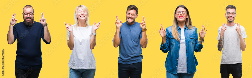 Fototapety, obrazy: Collage of group people, women and men over colorful yellow isolated background smiling crossing fingers with hope and eyes closed. Luck and superstitious concept.