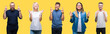 Collage of group people, women and men over colorful yellow isolated background smiling crossing fingers with hope and eyes closed. Luck and superstitious concept.