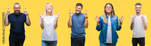 Photographie  Collage of group people, women and men over colorful yellow isolated background smiling crossing fingers with hope and eyes closed