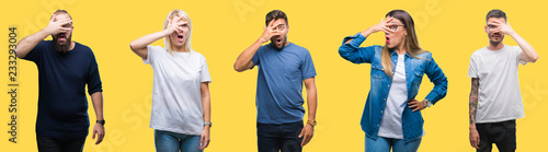 Photo  Collage of group people, women and men over colorful yellow isolated background peeking in shock covering face and eyes with hand, looking through fingers with embarrassed expression