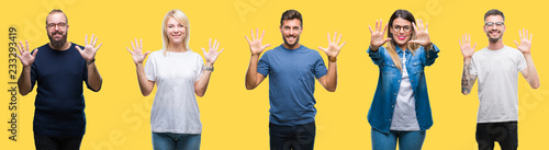 Fényképezés  Collage of group people, women and men over colorful yellow isolated background showing and pointing up with fingers number ten while smiling confident and happy