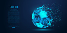 Abstract Silhouette Of A Soccer Ball From Particles, Lines And Triangles On Blue Background. Football. Elements On A Separate Layers Color Can Be Changed To Any Other In One Click. Vector Illustration