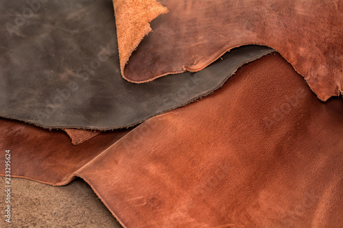 Obraz Texture of pieces brown leather. Natural material background - fototapety do salonu