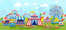 Colorful Flat Style Of Amusement Park With Plenty Of Merry-go-rounds On Urban Background