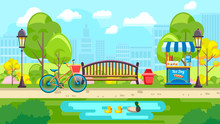 Urban Vector Design Of Colorful City Park With Bench And Pond On Urban Background