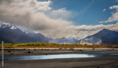 mist among lake and mountains