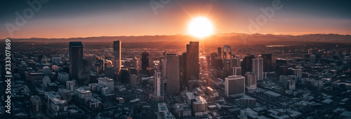 Aerial drone photo - City of Denver Colorado at sunset Canvas