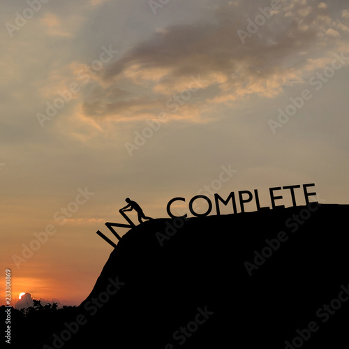 Fototapety, obrazy: Silhouette of man change incomplete to complete text on top mountain, sky and sun light background. Business, success, leadership, challenge, motivation, achievement and goal concept, 3d rendering