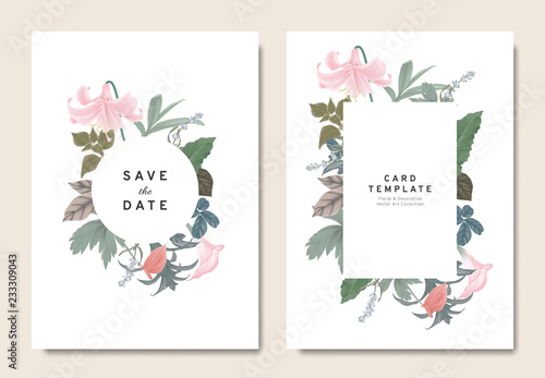Floral Wedding Invitation Card Template Design Bouquets Of