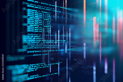 Fotografía  Programming code abstract technology background of software developer and  Compu
