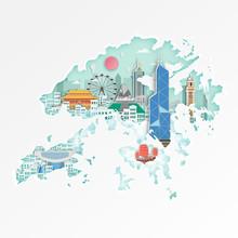 Famous Hongkonglandmark On Map...