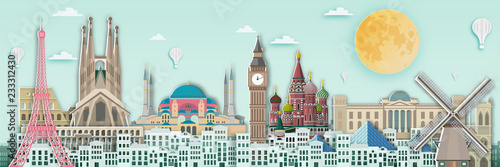 Obraz Famous landmark for travel card in europe ,England,France,Spain,Italy,germany,netherland,russia,turkey in paper art style. - fototapety do salonu