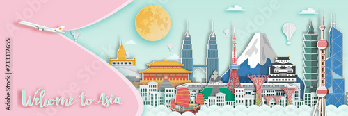 Photo  Famous landmark for travel card in Asia ,Japan,Thailand,Hongkong,singapore,malaysia,China in paper art style