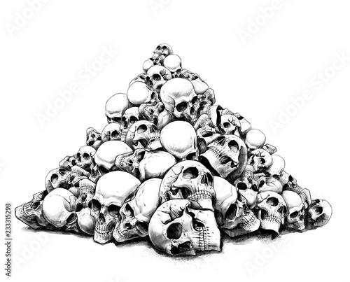 Fényképezés  a slide of human skulls