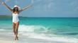 Ethnic Hispanic female in white swimsuit and sunhat on vacation beach