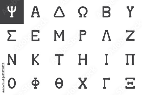Fotografie, Obraz  Greek alphabet symbols vector icons set modern solid symbol collection filled style pictogram pack