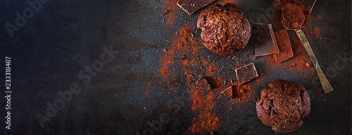 Chocolate muffin on dark background. Top view. Banner. Flat lay