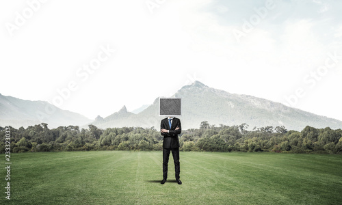 Canvas Prints Olive Businessman with monitor instead of head.