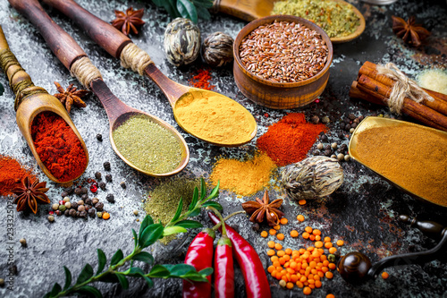 Photo  Spices and condiments for food