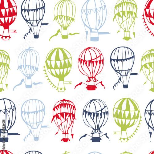 Fotografija  Hand drawn hot air balloons. Vector seamless pattern