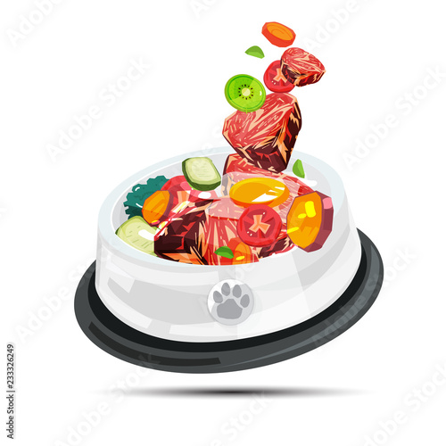 bowl of barf food for pet. healthy food for pet - vector Wall mural