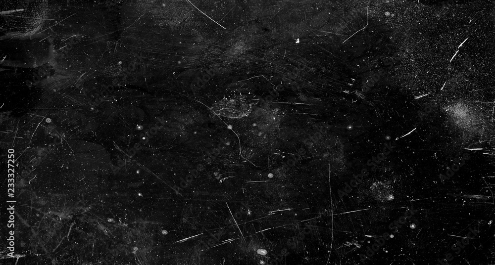 Fototapety, obrazy: Black scratched grunge background, old film effect, space for text
