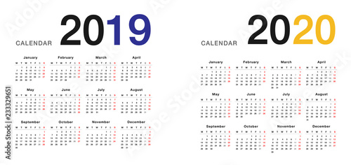 Calendario 2020 Vector Gratis.Year 2019 And Year 2020 Calendar Horizontal Vector Design