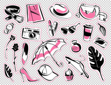 Vector Set Of Patches & Stickers With Modern Lady Fashion Accessory - Shoes, Glasses, Cosmetics, Aroma, Monstera Leaves, Shopping Bag, Smartphone Isolated On White Background. Hand Drawn Sketch Style.