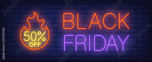 Fototapeta Black Friday, fifty percent off neon text with fire flame. Sale advertising design. Night bright neon sign, colorful billboard, light banner. Vector illustration in neon style. obraz