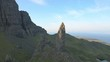 Aerial view of Trotternish Ridge by Old Man of Storr Scotland