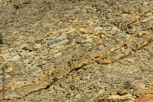 Natural Stones And Rock Fragments On The Mountain Slopes Near The