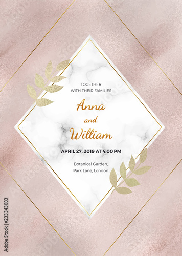 Fotografie, Obraz  Rose gold marble wedding invitation card with rhombus frame and golden lines and leaves
