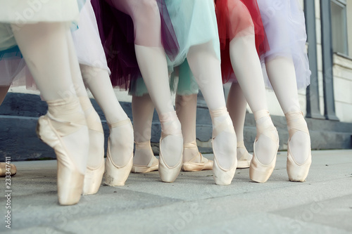 Ballet dancer's feet dancing on street Canvas Print